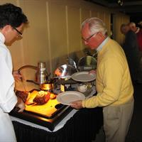 "Oregon Coast Seafood & Prime Rib Dinner.  Chef Gehrett carves the new ""smoked"" prime rib."