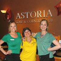"Kirsten, Suzy and Tiffany embrace the club's annual ""Ducks at the Beach"" Univ. of Oregon Alumni fundraiser"
